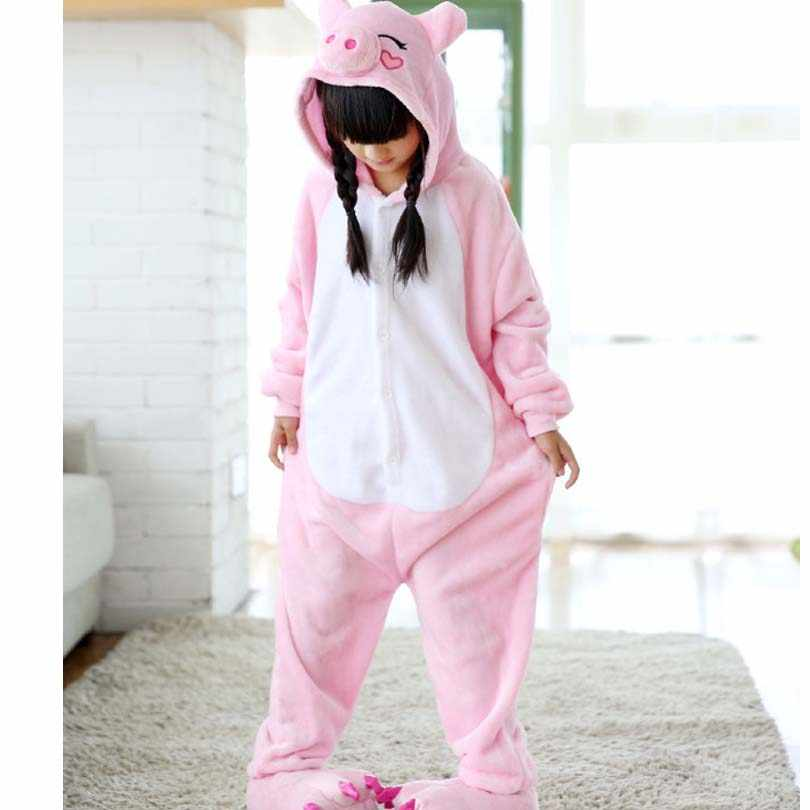 חזיר ורוד ילדי כיסי סרבל ילדי פיג 'מה Cosplay תלבושות Kigurumi סרבל תינוקות פיג' מה סליפרס שמיכת ירכיים עם רוכסן
