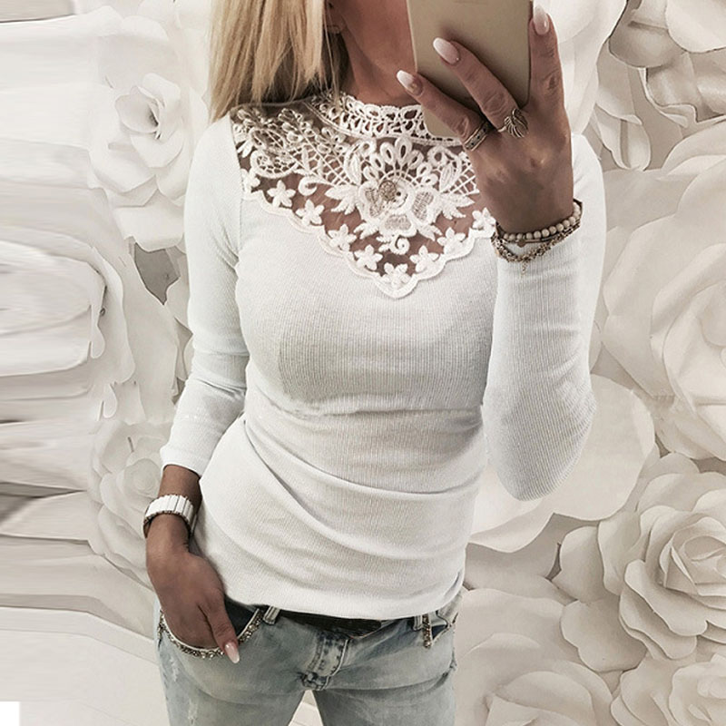 Plus Size 2018 ZANZEA Women Lace Crochet V Neck Shirt Hollow Out Long Sleeve Work Blouse Casual Patchwork Party Basic Top Blusas 4