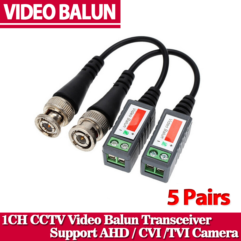 10pcs ABS Plastic CCTV Video Balun CCTV Accessories Passive Transceivers 2000ft Distance UTP Balun BNC Cable CAT5 Cable
