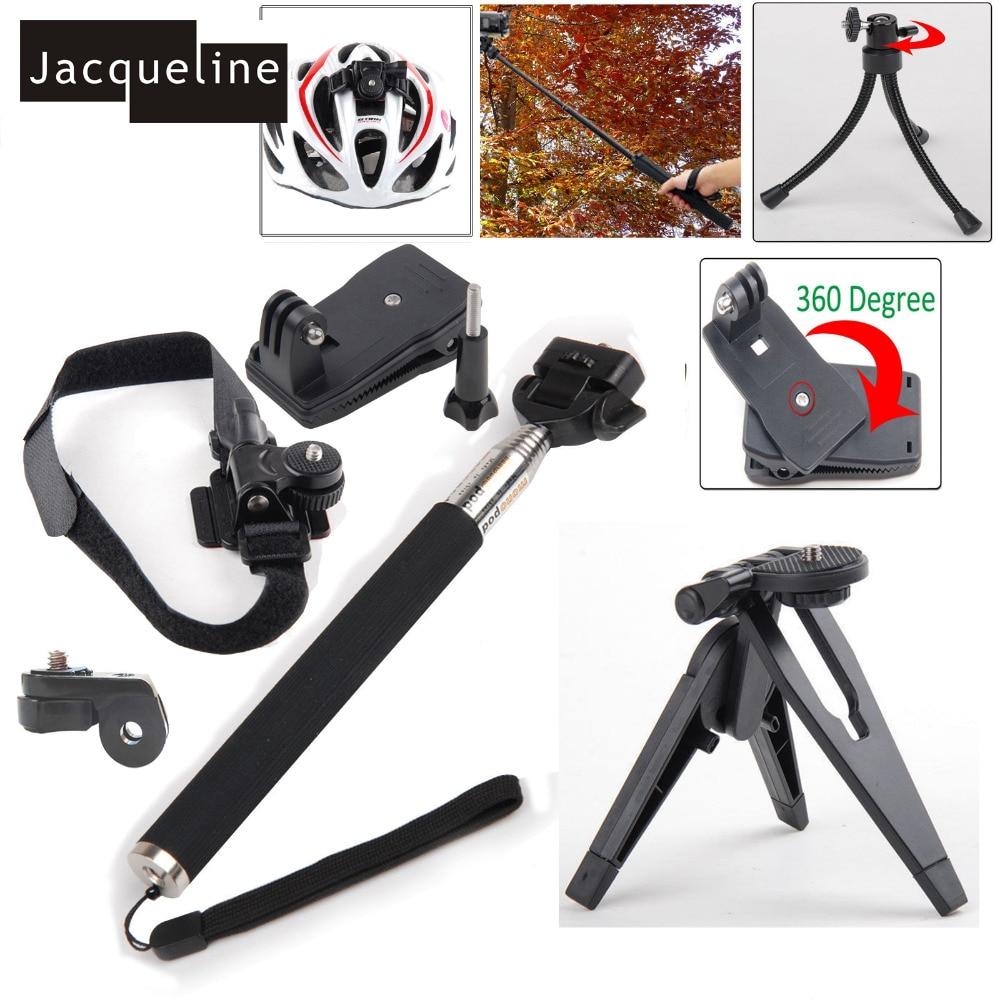 Jacqueline for Monopod+Tripod Mount Helmet Bag Clip Kit for Sony Action Cam HDR AS30V AS100V AS200V AZ1 mini FDR-X1000V/W 4K Cam
