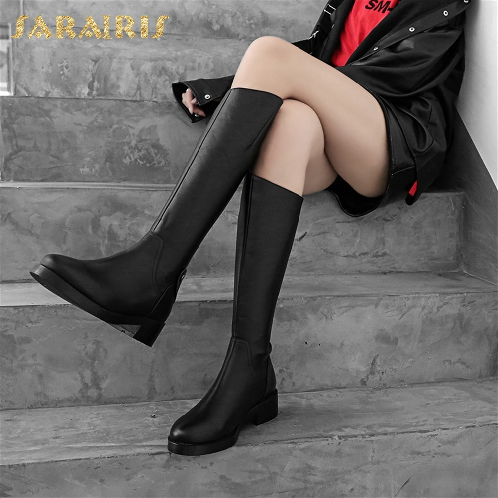 SARAIRIS 2018 Genuine Leather Platform Chunky Heels Knee High Boots Fashion Zip Up Black Women Shoes Woman Riding Boots china post air mail free shipping 12v 325mm 13 inch stroke 1000n 100kg 225lbs load linear actuator