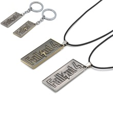 Game Series Fallout 4 Sign Metal Pendant Antique Game Figure Keychain Gold Metal Necklace Keyring Alloy Model For Boys Gift