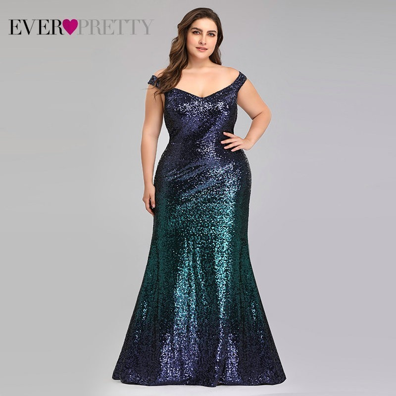 Plus Size 2019 Prom Dresses Long Ever Pretty EP08999 Sexy Mermaid Sequined Sparkle Red Prom Gown