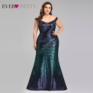 Image 1 - Plus Size 2020 Prom Dresses Long Ever Pretty EP08999 Sexy Mermaid Sequined Sparkle Red Prom Gown Elegant Special Occasion Gowns