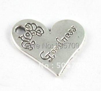 180 шт Тибетский серебристый цвет сердце форма добра Шарм A15217