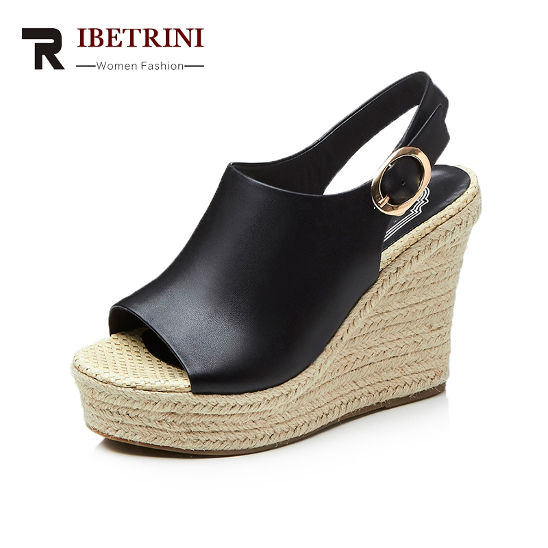 RIBETRINI Brand New Cow Genuine Leather Woman Buckle Strap Wedges High Heel Women Shoes Platform Summer Sandals Women venchale 2018 summer new fashion sandals wedges platform women shoes height heel 10 cm buckle strap casual cow leather sandals