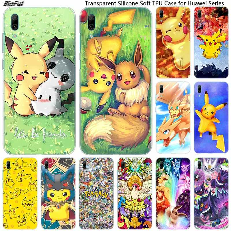 Pikachu Soft Silicone Phone Case for Huawei Mate 10 20 Lite Pro Enjoy 9S Y9 Y7 Y6 Y5 2019 2018 Pro 2017 Fashion Cover