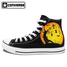 Men Women Converse All Star Pumpkin Halloween Jack-o-lanterns Design Hand Painted Shoes High Top Canvas Sneakers Christmas Gifts