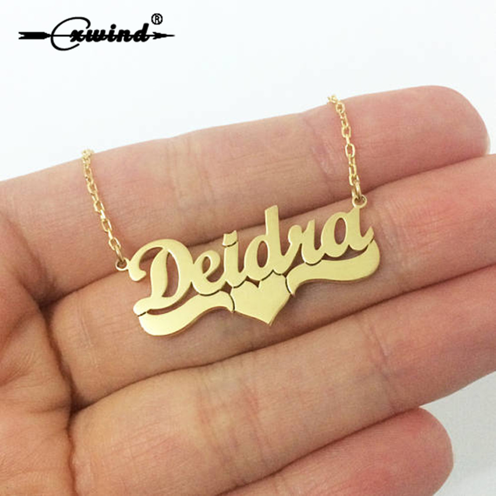 Cxwind Customized Necklace Stainless Steel Plated Six Color Any Charm Letter Cursive Heart Name Pendant Necklace Birthday Gift