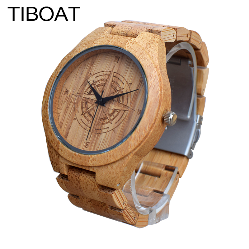 TIBOAT Creative Compass Dial Mens Dress Cool Watch Luxury Men Top Brand Full Bamboo Quartz Watches For Gift reloj de los hombres bronze cool full hunter anchor pirate design theme fob pocket watch quartz roman number dial casual fashion chain best gift kids