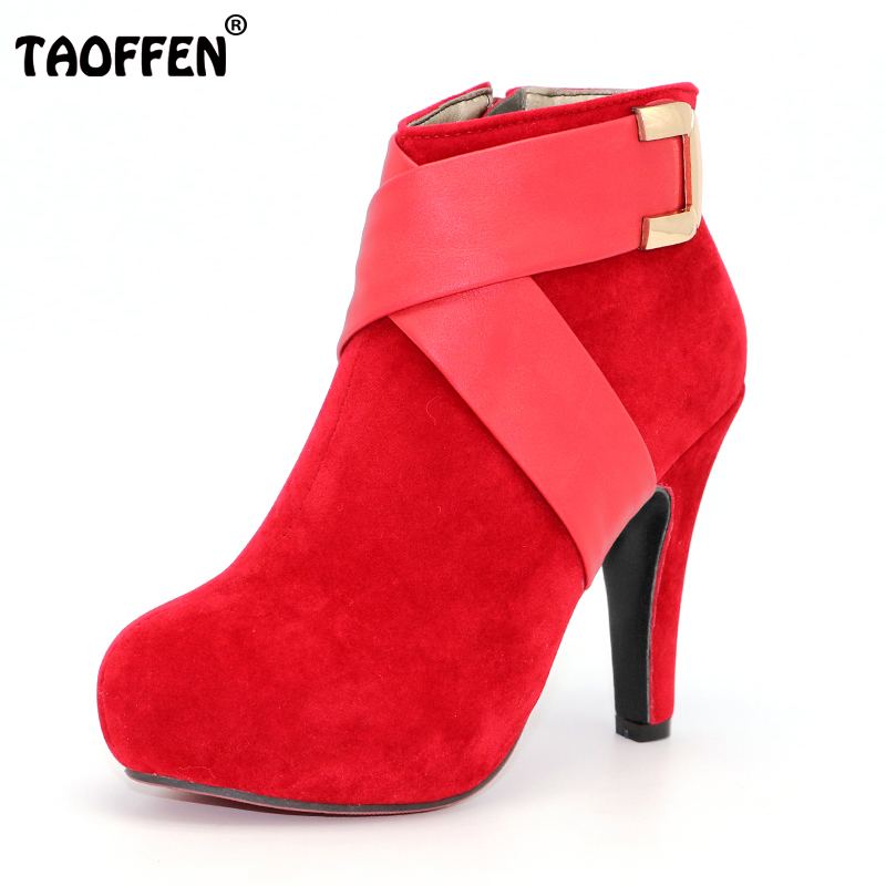 TAOFFEN Women Ankle Boots Ladies Fashion Short Boot Winter Footwear Botas High Heel Shoes Sexy Snow Warm P6869 EUR Size 34-43 nemaonesize 34 43 women flat half short ankle boots winter snow boot cotton quality fashion buckle footwear warm botas shoes