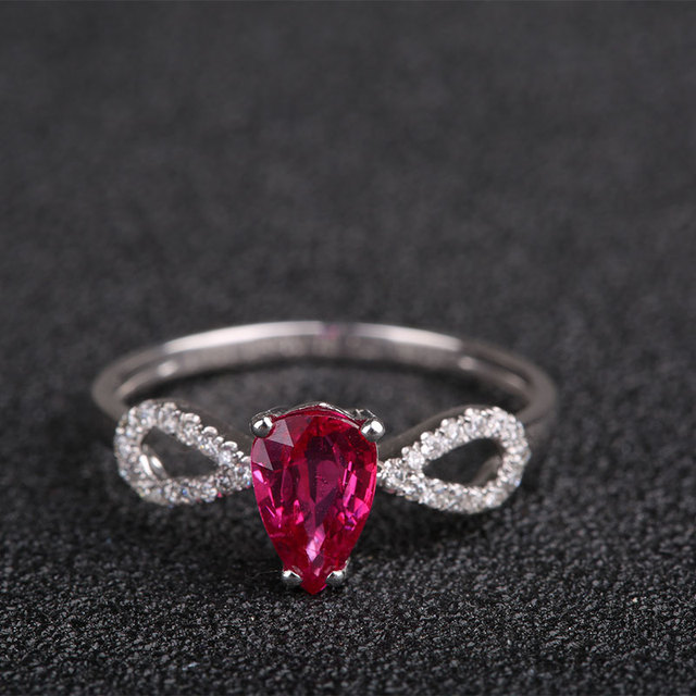 Robira Water Drop Ruby Wedding Ring Simple Women Ruby Rings Real 18K