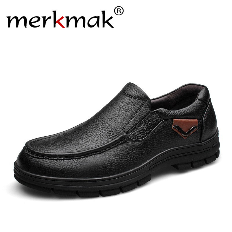 Merkmak Men's Genuine Leather Shoes Business Dress Moccasins Flats Slip On New Men's Casual Shoes Dress Mens Oxford Shoes 38-47 dekesen men genuine leather shoes business dress moccasins flats slip on loafers new men casual shoes mens business shoes 37 47