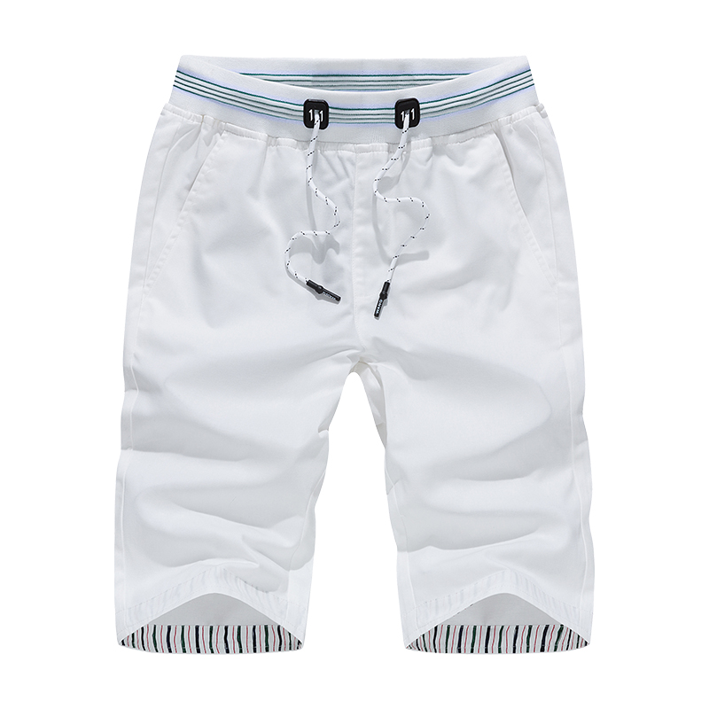 MYAZHOU 2018 Summer Shorts Men , High Quality Cotton Leisure Solid Color Shorts Male , Fashion Summer Short Male White S-4XL