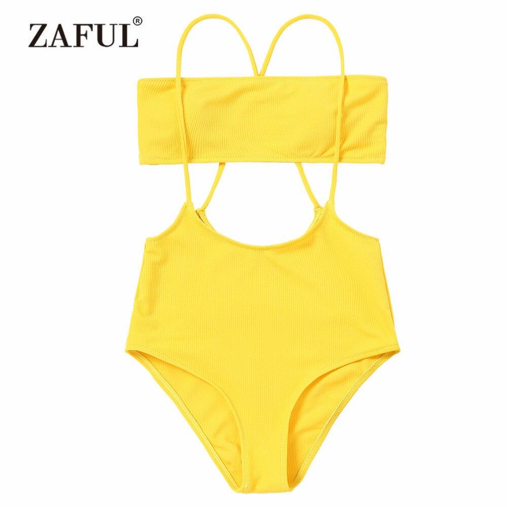 ZAFUL 2018 Women bikini Swimsuit Hot Strapless Top and High Rise Cami Swim Bottoms Swimwear Women High Waisted Padded Beacher