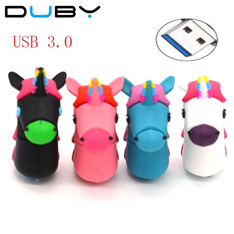 Cartoon Unicorn Shape Pen Drive 4gb 8gb16gb High Speed USB 3.0 flash drive cute horse pendrive 32gb memory stick U disk