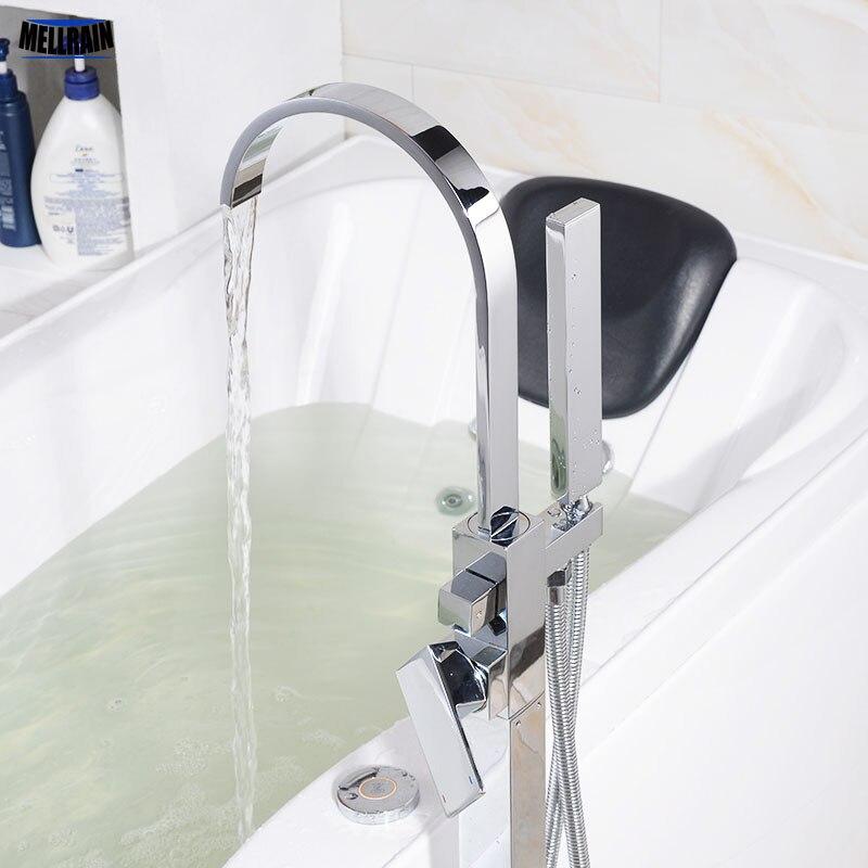 Ванная комната напольная подставка Для ванной ванна воды Смеситель латунный хромированный Водопад Для ванной кран высокое качество квадра