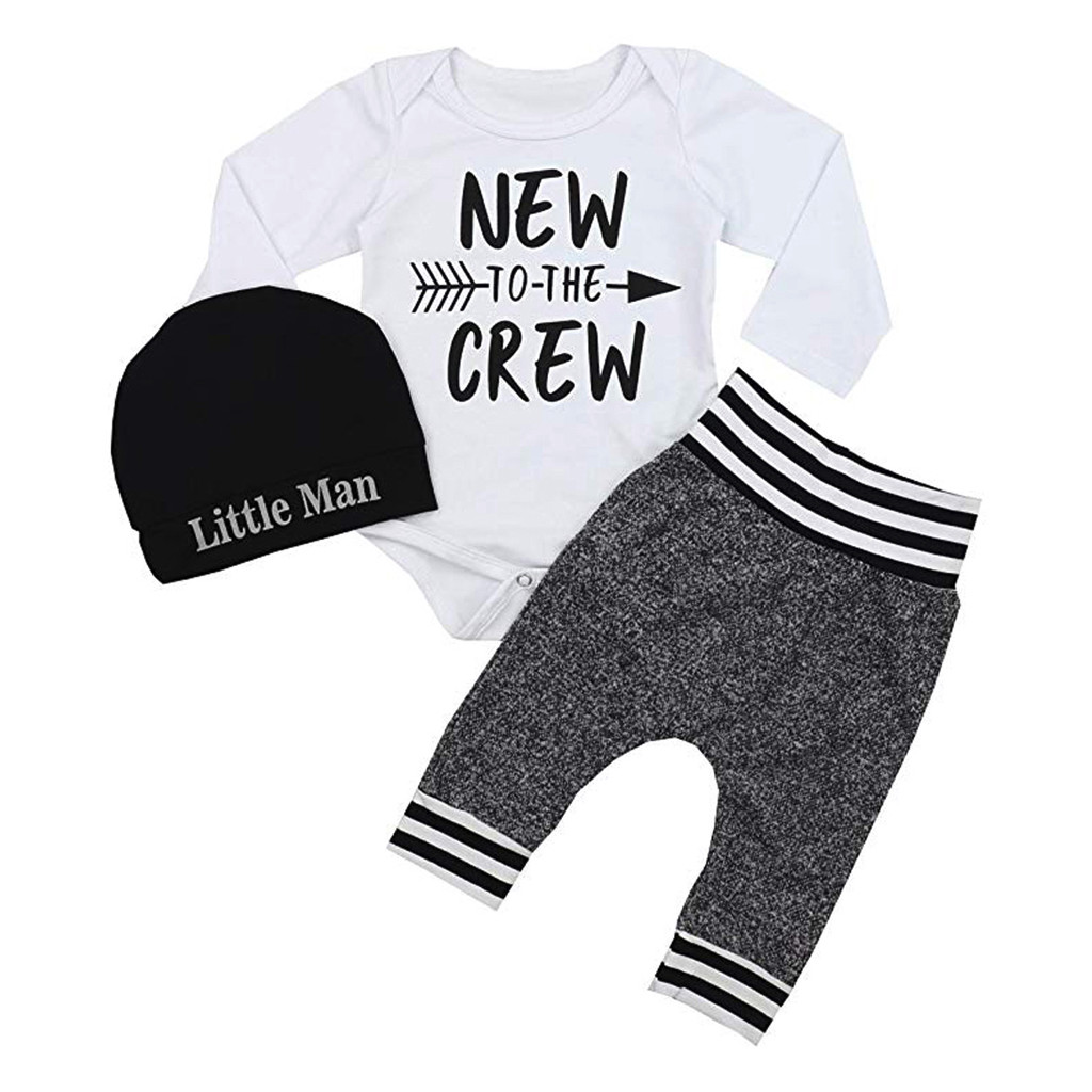 US Newborn Baby Boy Matching Clothes Little Man Tops Romper Long Pants Outfits