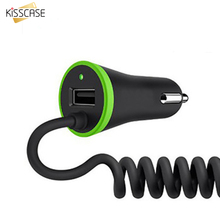 KISSCASE Mini USB Car Charger Micro USB Cable Spring Shape For Cellphone Tablet PC BPG Safety Charging For Android Mobile Phone