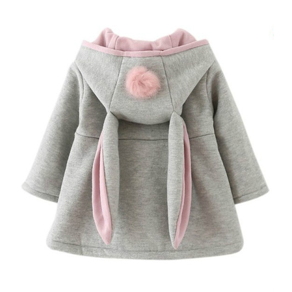 Spring Autumn Lovely Baby Rabbit Ears Hooded Girls Jacket Cotton Coat Warm Outerwear