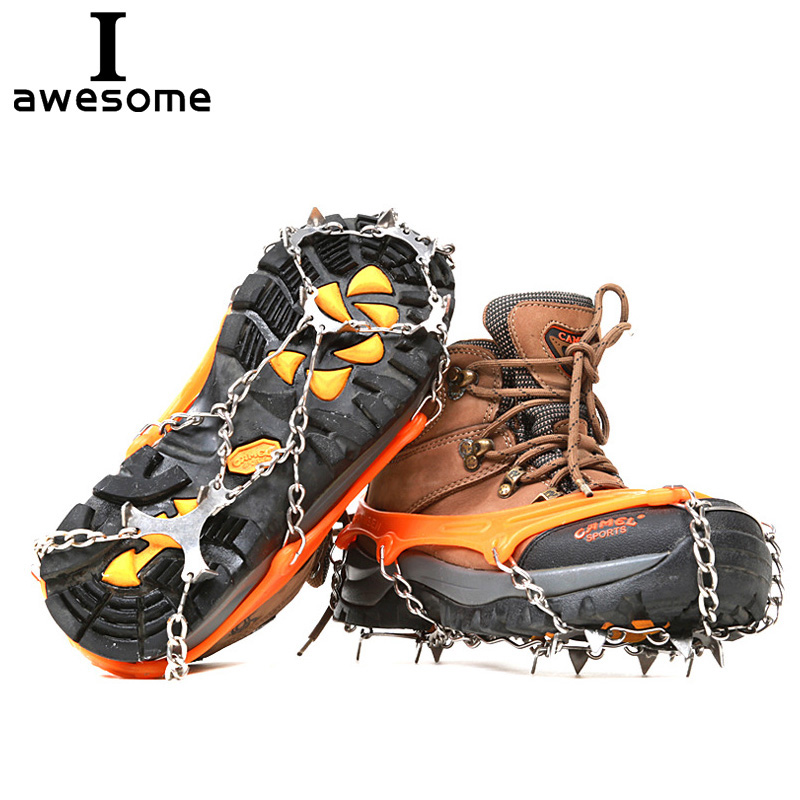8 Teeth Climbing Boot Shoes Cover Spike Cleats Chain Crampons Ice Snow Gripper