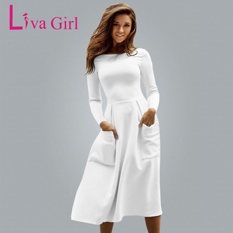 Liva Girl Winter Autumn Women Casual Long Dresses Skater Dress Female Long Sleeve White Sexy Midi Dress Office Pleated Dress