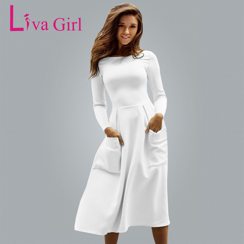 Liva Girl Winter Autumn Women Casual Long Dresses Skater Dress Female Long Sleeve White Sexy Midi
