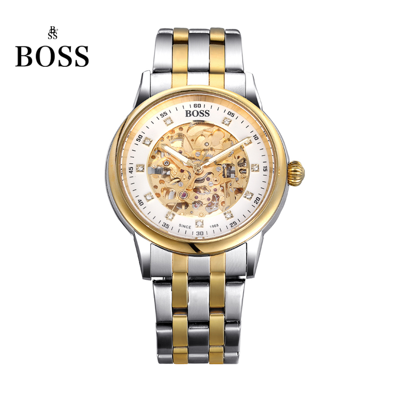 BOSS Germany watches men luxury brand retro skeleton hollow diamond gilded automatic self wind mechanical watch