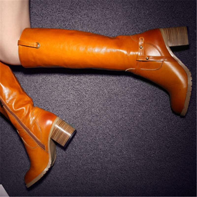 Motocicleta Negro Caballero Sexy Botas orange Mujeres Invierno Rodilla Para Enmayla Moda Zapatos Altas De Nuevo Med Tacones Las qHwPnFx6at