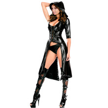 Halloween Costumes For Women 2016 Black Gothic Punk Wetlook Sweet Pea Hooded Coat Gown Dress Deguisement Adultes LC8960