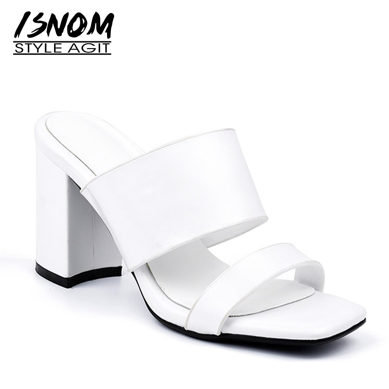 ISNOM Thick High Heels Slippers Woman 2019 Women Fashion Office Platform Slides Shoes Female Genuine Leather