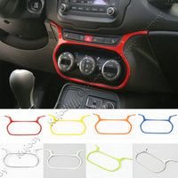 8 Color Red Blue White Chrome ABS Air Condition Adjust Button Cover Trim Frame For Jeep Renegade 2015 2016 Car Styling Covers