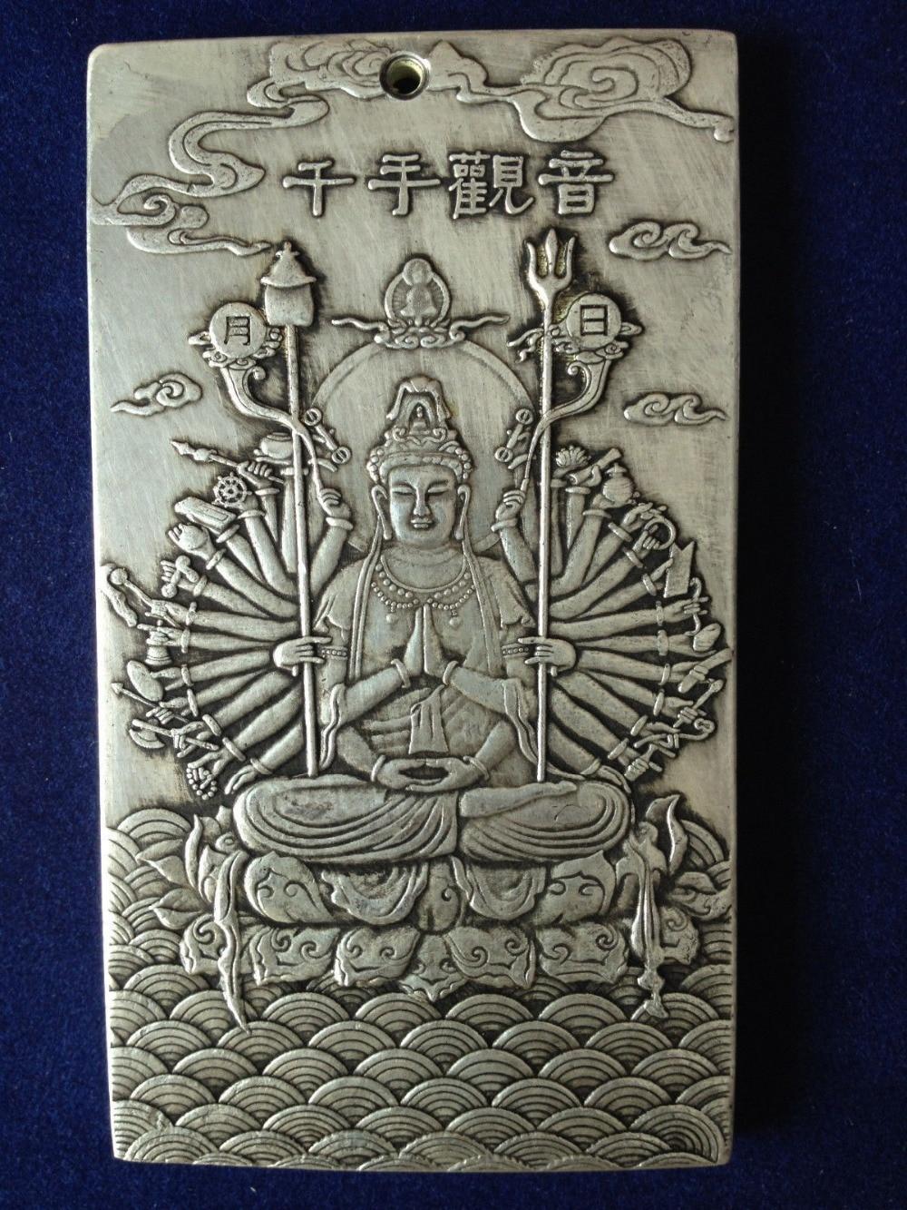 China Tibet silver Amulet Pendant Guanyin