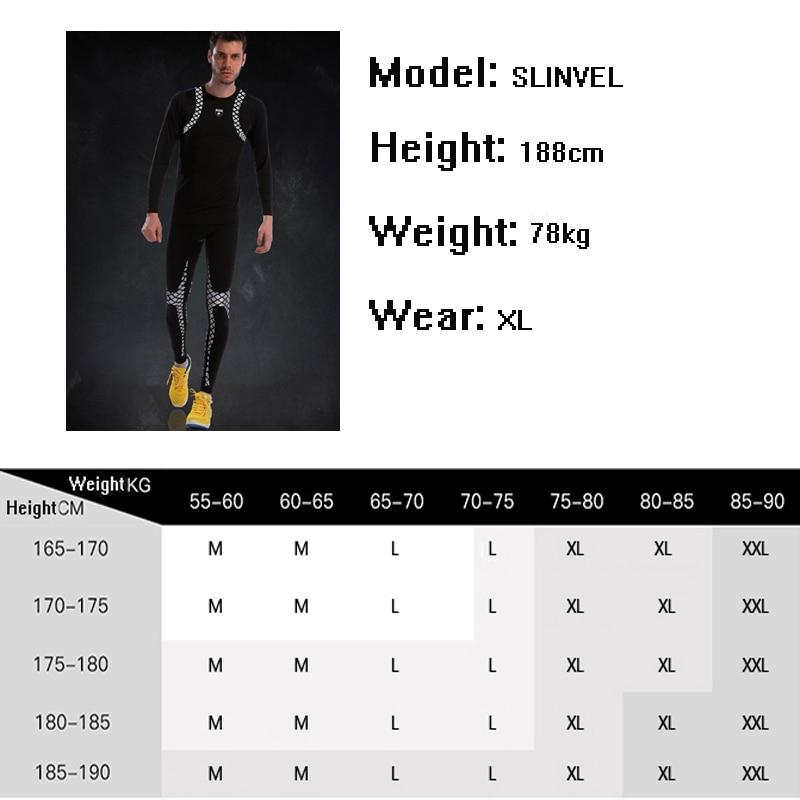 Apertado Homens Ginásio Terno De Manga Longa De Compressão de Fitness Set 2019 Novo Padrão Clássico Legal Sportswear Conjuntos de Meias de Poliéster Esporte Funcionamento - 6