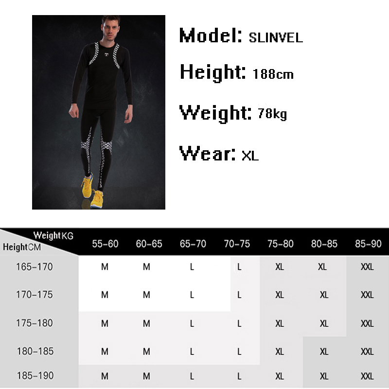 Tight Gym Suit Men Long Sleeve Compression Fitness Set 2019 New Classic Pattern Cool Sportswear Polyester Run Sport Tights Sets - 6