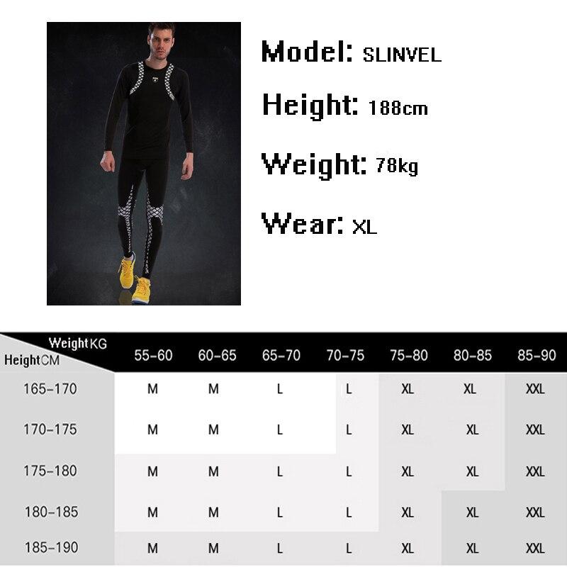Traje de gimnasio ajustado para hombre de manga larga de compresión conjunto de Fitness 2019 nuevo patrón clásico fresco ropa deportiva de poliéster correr conjuntos de medias deportivas - 6