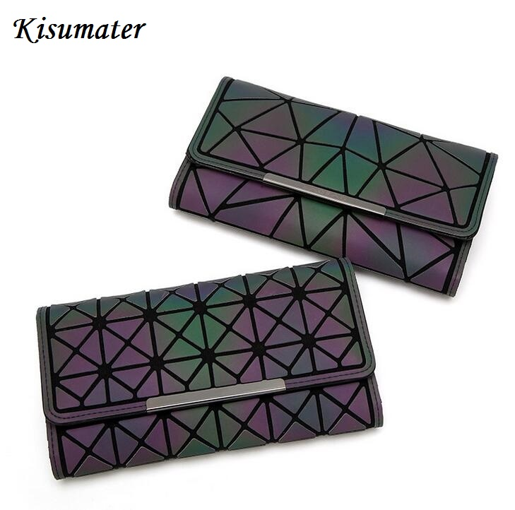 Kisumater luminous wallet New Women's geometric wallet female Mini Clutch handbag  bao bao bag  Shinning in dark Free Shipping лупа bao workers in taiwan 10