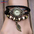 New Design 2016  Hot  Sale  1PC Womens Bracelet Vintage Weave Wrap Quartz Leather Leaf Beads Wrist Watches  Aug03 send in 2 days