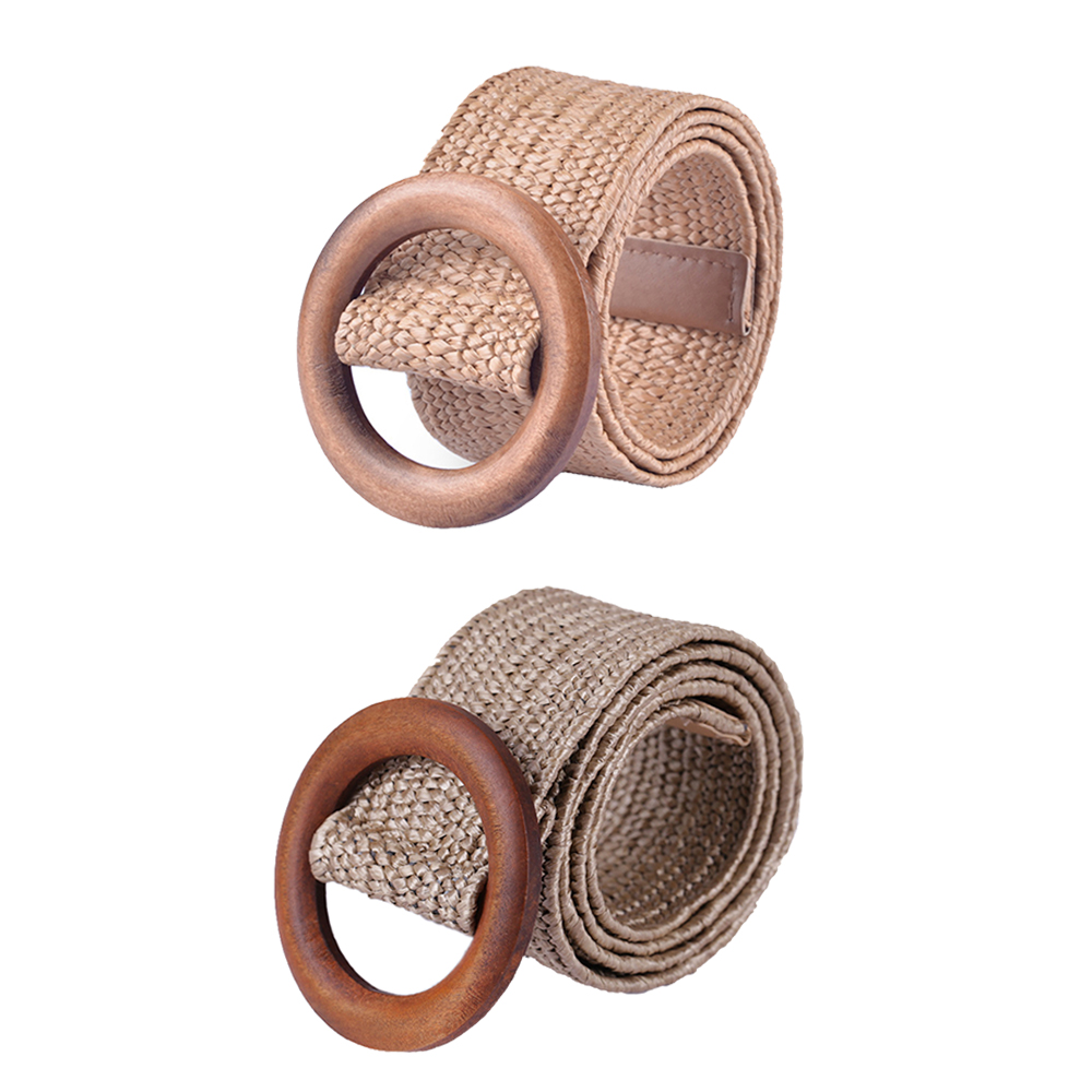 KLV 1Pcs Fashion   Belt   Button For Women Elastic Wood Straw   Belt   Decoration Accessories For Casual Dress   Belt   Female   Belt