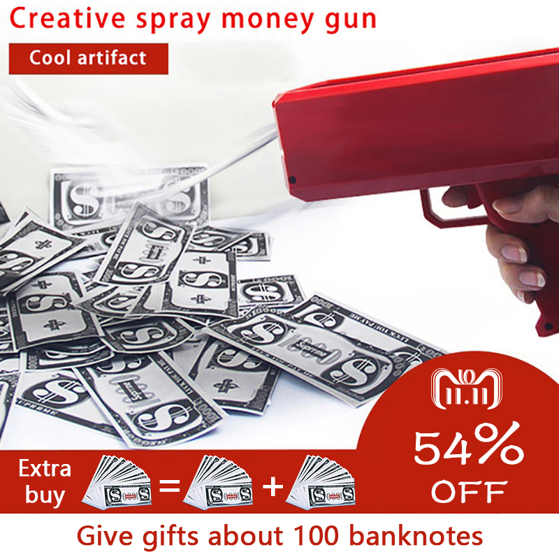 Make It Rain Money Gun Red Pink Toy Christmas Gift Party Toys Game 100PCS Cash Fashion