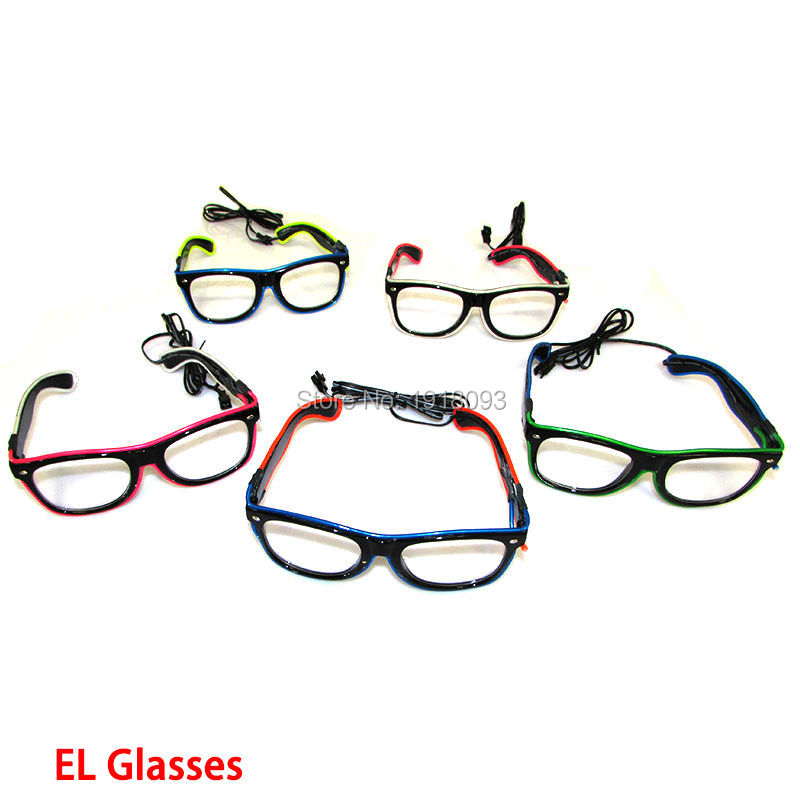 10 Pieces Double Colors EL Wire Glasses With DC-3V Steady On Driver Fashion Glow Party Decorative Props Novelty Lights