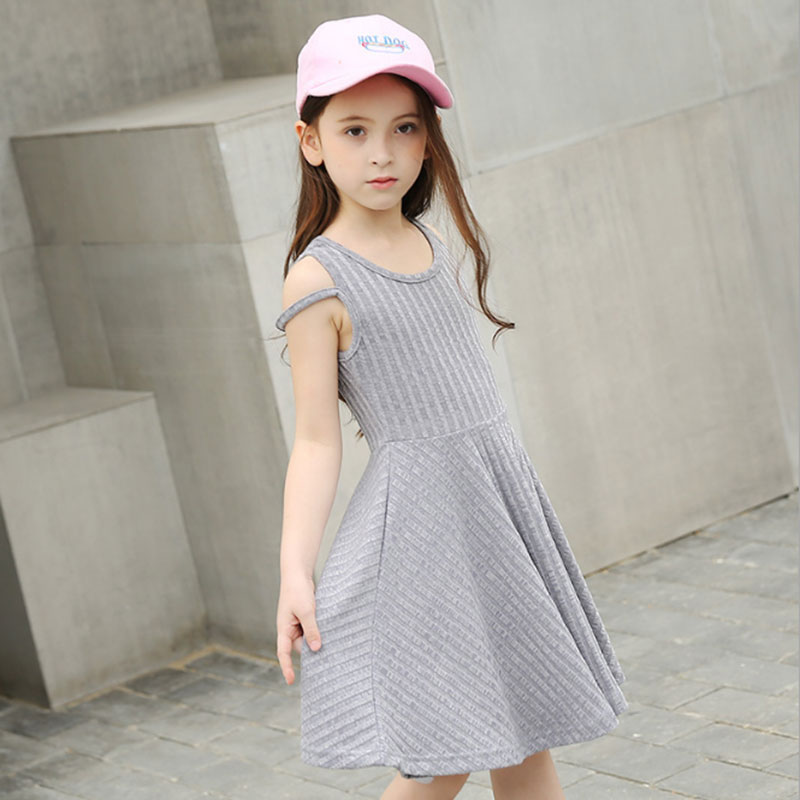 Kids Dresses for Girls 2018 Summer Fashion Casual sleeveless Dress for Teens Girl Cotton Gray children clothing 6 8 10 12 14 16Y bohomian kids girls holiday style summer fashion child dresses sleeveless stripe dress 10 year olds girls children clothing