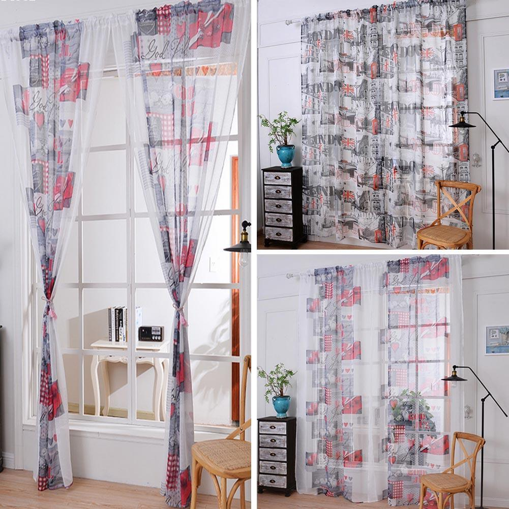 Modern Flag Printed Cotton Linen Curtains For Living Room Bedroom Coffee Shop Sheer Voile Window