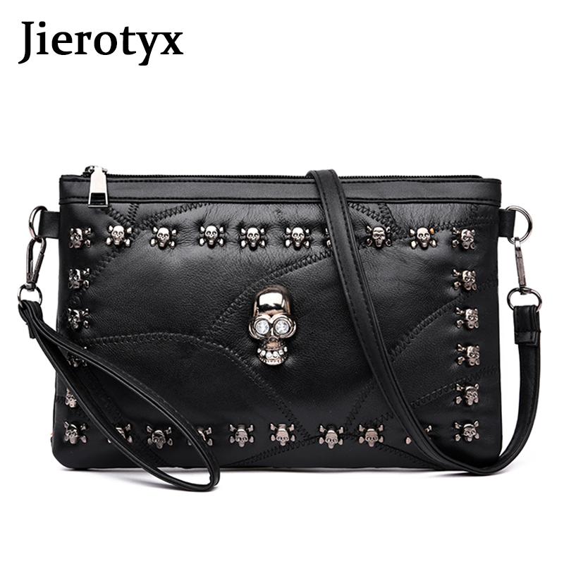 JIEROTYX Fashion Patchwork Sheepskin Leather Women Handbag Skull Design Shoulder Bag Female Crossbody Bag Day Clutch Gothic