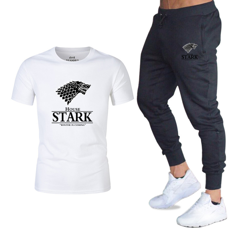 Game Of Thrones Printing TShirts+pants Men Set 2 Piece Kit Tracksuit Joggers Brand Male Trousers Casual T-shirts Sportswear Set
