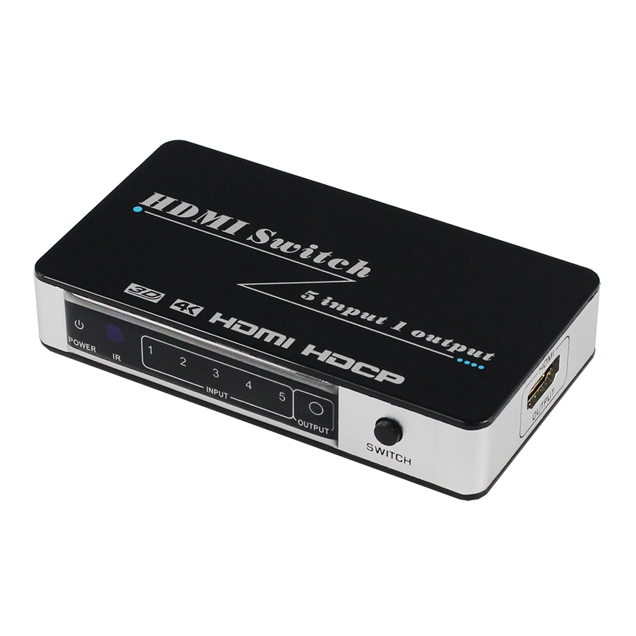 New 4Kx2K HDMI Switch 5x1 HDMI Converter 5 in 1 out 5 Port HDMI Dual Mode Switcher 3D with IR Wireless Remote Control