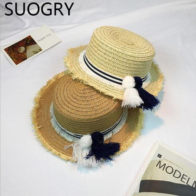 e0f35dc1a4b33 Coreia do Plano Top Palhinha Chapéus para Mulheres Homens Verão Grande Aba  do chapéu de Praia