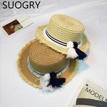 Corea Flat Top Botero sombreros para los hombres de las mujeres del verano  ala ancha Beach Sun sombreros con borlas 2017 diseño . 90931e1fe2c