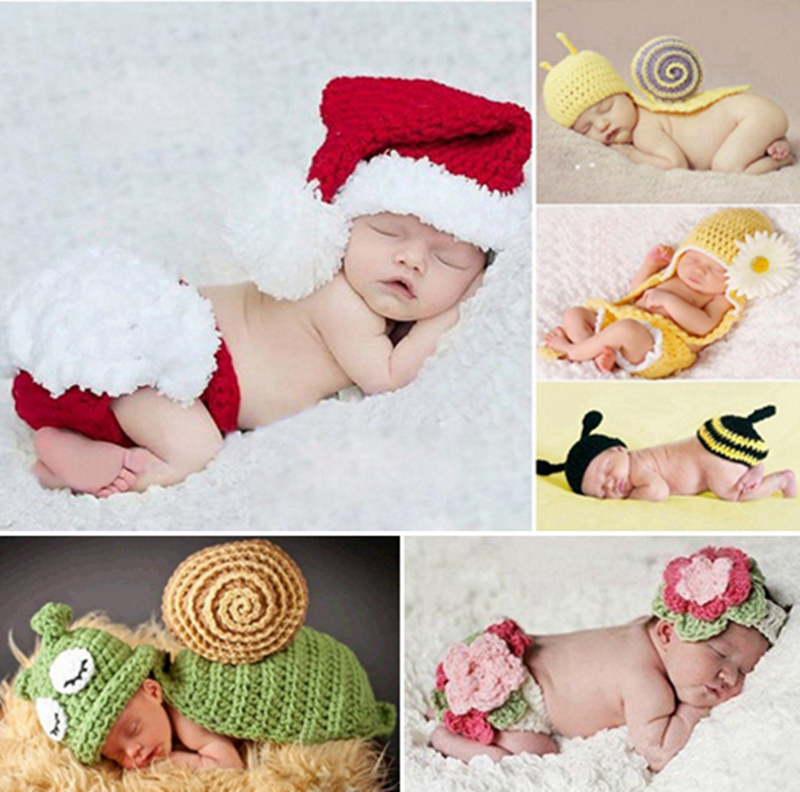Handmade children baby girl hat crochet winternewborn photography props mermaid costumeknitted baby fotografia crochet outfits in hats caps from mother