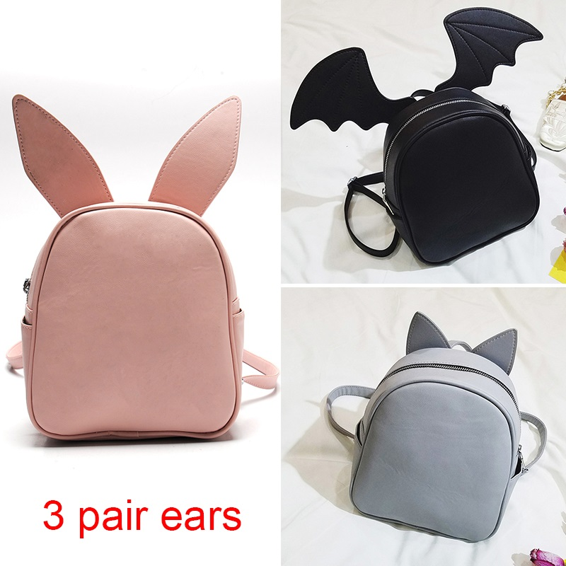 Fashion PU Leather Girl Backpack cute School Bag For Teenager Small Rivet Top-handle Three kinds of ear Women backpack Feminina